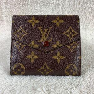 Auth Louis Vuitton Elise Double Snap Bifold Wallet